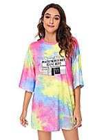 cheap -women round neck loose fit tie dye tee shirts casual tops