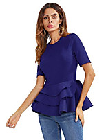 cheap -women's vintage layered ruffle hem slim fit round neck peplum blouse royalblue xl