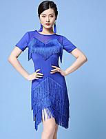 cheap -Latin Dance Dress Tassel Split Joint Women's Training Performance Short Sleeve Nylon
