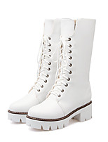cheap -Women's Boots Cuban Heel Round Toe Casual Basic Daily Solid Colored PU Mid-Calf Boots Walking Shoes White / Black