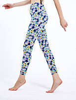 cheap -Women's Sporty Yoga Comfort Skinny Daily Leggings Pants Floral Ankle-Length High Waist Blue