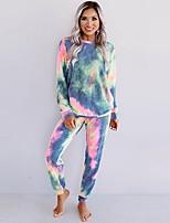 cheap -Women's Basic Tie Dye Two Piece Set Crew Neck T-shirt Blouse Pant Loungewear Drawstring Tops