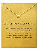cheap -friendship gold wings necklace good luck elephant pendant chain necklace with message card gift card (gold wings 2)