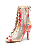 cheap -Women's Latin Shoes Boots Slim High Heel Rubber Crystal / Rhinestone Peach