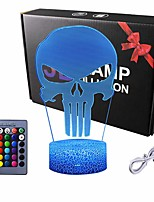 cheap -Night Light for Kids 3D Nightlight Illusion Lamp LED Desk Table Lamp with Remote Control 16 Colors Change Best Christmas Halloween Birthday Gift for Child Baby Boys Punisher