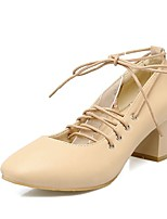 cheap -Women's Heels Wedge Heel Square Toe Classic Daily Solid Colored PU Black / Yellow / Beige