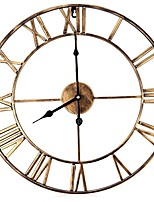 cheap -decorative wall clock, eruner 18.5 inch oversized 3d vintage metal clock with roman numerals large dial non-ticking home kitchen living room restaurant cafe bar decoration gold