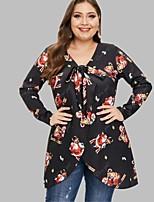 cheap -Women's Wrap Dress Short Mini Dress - Long Sleeve Print Bow Patchwork Fall V Neck Plus Size Casual 2020 Black L XL XXL 3XL 4XL 5XL