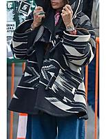 cheap -Women's Fall & Winter Single Breasted Coat Long Geometric Daily Basic Print Black S M L XL / Loose
