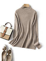 cheap -Women's Stylish Knitted Solid Color Plain Pullover Acrylic Fibers Long Sleeve Loose Sweater Cardigans Crew Neck Round Neck Fall Purple Khaki Beige