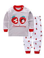 cheap -Kids Girls' Basic Daily Graphic Print Long Sleeve Regular Clothing Set Red