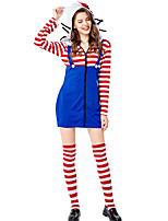 cheap -Cat Dress Cosplay Costume Party Costume Adults' Women's Cosplay Vacation Dress Halloween Halloween Festival / Holiday Polyester Blue Women's Easy Carnival Costumes