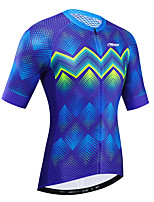 cheap -21Grams Women's Short Sleeve Cycling Jersey Summer Blue Bike Jersey Top Mountain Bike MTB Road Bike Cycling UV Resistant Breathable Quick Dry Sports Clothing Apparel / Stretchy / Race Fit