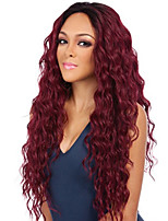 cheap -Synthetic Wig Curly Middle Part Wig Very Long Burgundy Synthetic Hair Women's Fashionable Design Exquisite Fluffy Burgundy