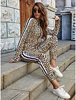 cheap -Women's Sweatshirt Leopard Print High Neck Sport Athleisure Sweatshirt and Pants Long Sleeve Soft Everyday Use Daily Outdoor / 2pcs / pack / Stretchy