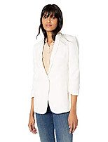 cheap -women's ruched 3/4 sleeve crinkle-crepe blazer, chalk, xs