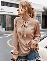 cheap -Women's Blouse Shirt Solid Colored Long Sleeve Bow V Neck Tops Basic Sexy Basic Top Wine Navy Blue Beige