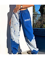 cheap -Women's Basic Daily Harem Pants Tie Dye Letter Breathable Blue S M L