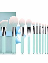 cheap -valentine's day gifts deals 2020-makeup brushes set 12 pieces professional cosmetic makeup brush kit with wooden handle synthetic powder foundation blending eye shadow concealer bag gifts (teal blue)