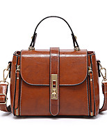 cheap -Women's Bags PU Leather Polyester Top Handle Bag Zipper Daily Office & Career 2021 Handbags Black Red Brown Coffee