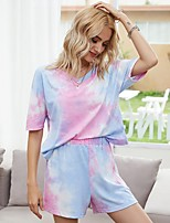 cheap -Women's Basic Tie Dye Two Piece Set Cotton V Neck T-shirt Blouse Pant Loungewear Tops
