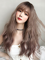 cheap -Synthetic Wig Loose Wave With Bangs Wig Very Long Brown Pink Black Synthetic Hair 22 inch Women's Classic Exquisite Fluffy Brown