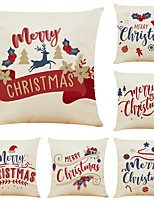 "cheap -Set of 6 Merry Christmas Linen Square Decorative Throw Pillow Cases Sofa Cushion Covers 18""x18"""