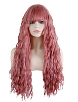 cheap -Synthetic Wig Loose Curl Neat Bang With Bangs Wig Long Pink / Grey Synthetic Hair 30 inch Women's Fashionable Design Party Exquisite Pink