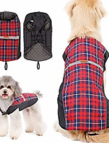cheap -dog reflective winter jacket plaid reversible vest warm coat (s(back:12.2inch;chest:16.9-19.7inch), red)