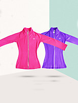 cheap -Figure Skating Fleece Jacket Women's Girls' Ice Skating Jacket Top Purple Pink Sky Blue Glitter Stretchy Training Skating Wear Warm Solid Colored Crystal / Rhinestone Long Sleeve Ice Skating Winter