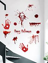 cheap -3D Horror Blood Handprint Halloween Wall Stickers Decorative Wall Stickers, PVC Home Decoration Wall Decal Wall Decoration / Removable