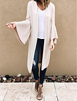 cheap -Women's Basic Knitted Solid Color Plain Cardigan Long Sleeve Loose Sweater Cardigans Open Front Fall Winter Beige