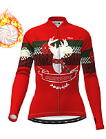 cheap -21Grams Women's Long Sleeve Cycling Jacket Winter Fleece Red Blue Green Bike Jacket Top Mountain Bike MTB Road Bike Cycling Fleece Lining Warm Sports Clothing Apparel / Micro-elastic