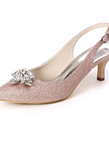 cheap -Women's Wedding Shoes Kitten Heel Pointed Toe Sweet Wedding Party & Evening Rhinestone Solid Colored Gleit White / Light Purple / Champagne