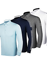 cheap -Men's Golf Polo Shirts Long Sleeve UV Sun Protection Breathable Quick Dry Sports Outdoor Autumn / Fall Spring Winter Cotton Solid Color Stripes White Dark Blue Gray Light Blue / Stretchy