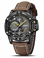 cheap -men's analog business quartz chronograph watch with brown leather strap black big face for sports (2130 brown)