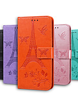 cheap -Case For Sony Xperia L3 Sony Xperia 10 Sony Xperia 5 Sony Xperia L4 Card Holder Flip Magnetic Full Body Cases Butterfly Solid Colored Eiffel Tower PU Leather