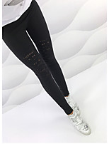 cheap -Women's Basic Daily Tights Pants Solid Colored Cut Out Breathable Black S M L