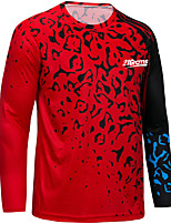 cheap -21Grams Men's Long Sleeve Downhill Jersey Red Novelty Bike Top Mountain Bike MTB Road Bike Cycling Breathable Quick Dry Sports Clothing Apparel / Stretchy