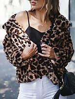 cheap -Women's Fall & Winter V Neck Coat Regular Leopard Daily Faux Fur Rainbow S M L