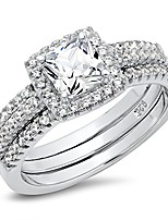 cheap -sz 10 sterling silver cushion cubic zirconia cz 2pc halo wedding engagement ring insert set