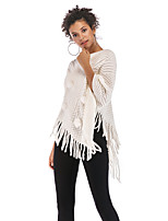 cheap -Women's Basic Knitted Tassel Solid Color Plain Cloak / Capes Half Sleeve Sweater Cardigans Crew Neck Round Neck Fall Winter White Black Red