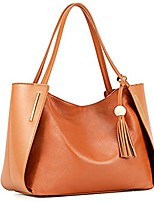 cheap -women's genuine leather tote handbags, top handle purses with tassel decoration(brown)