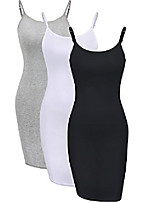 cheap -3 pieces basic cami women long tanks top dress with strap, solid color (large, multicolor 1)