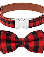 cheap -plaid bowtie dog collar adjustable - premium classic red and black plaid with metallic buckle collars for medium to large dogs