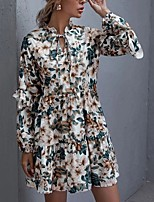 cheap -Women's A-Line Dress Short Mini Dress - Long Sleeve Print Ruffle Patchwork Print Fall V Neck Casual Loose 2020 Green S M L XL