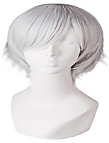 cheap -Synthetic Wig Straight kinky Straight With Bangs Wig Short Creamy-white Synthetic Hair Men's Anime Fashionable Design Cute Silver White