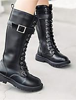 cheap -Girls' Boots Combat Boots PU Little Kids(4-7ys) Walking Shoes White / Black / Beige Fall / Winter / Mid-Calf Boots