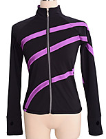 cheap -Figure Skating Fleece Jacket Women's Girls' Ice Skating Jacket Top Purple Stretchy Training Skating Wear Warm Patchwork Long Sleeve Ice Skating Winter Sports Figure Skating / Kids