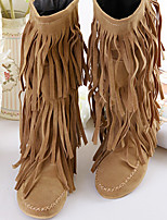 cheap -Women's Boots Flat Heel Round Toe Casual Daily Tassel Solid Colored PU Mid-Calf Boots Black / Yellow / Brown